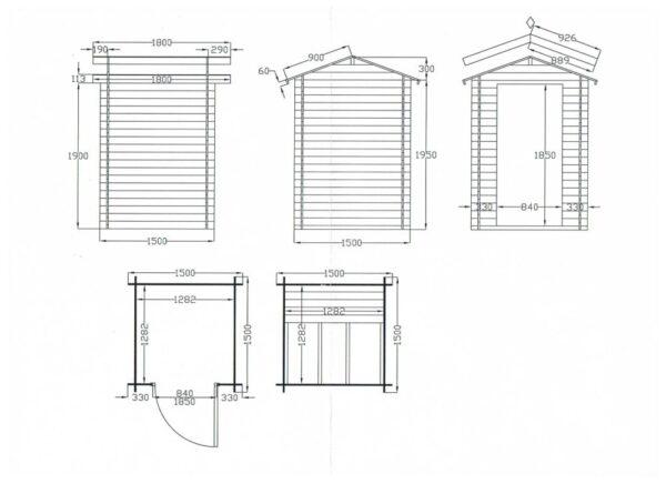 Casetta in legno mod. Genova 1.5m x 1.5m