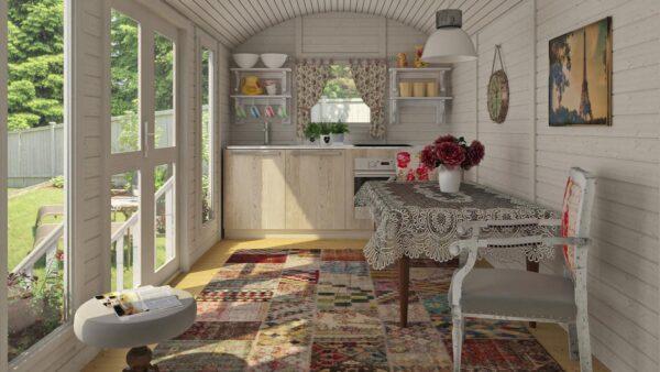 casa mobile in legno su ruote interno