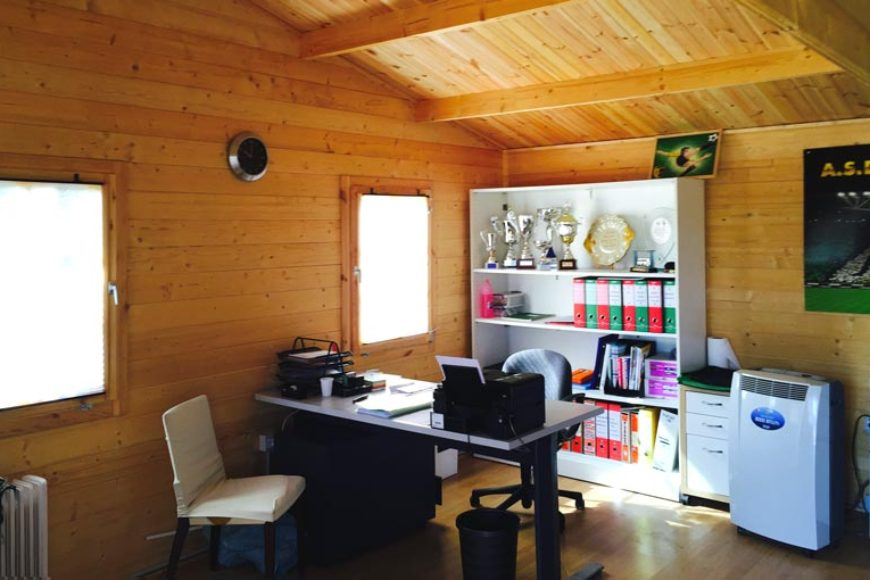casette in legno uso ufficio lavorare in giardino