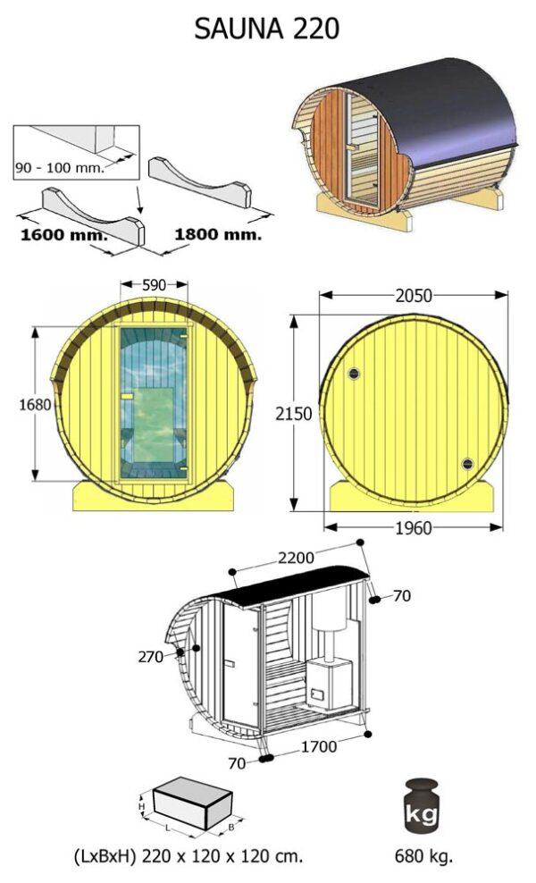 Misure Sauna da esterno modello 220