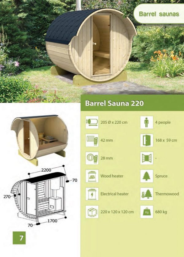 Scheda tecnica Sauna da esterno 220