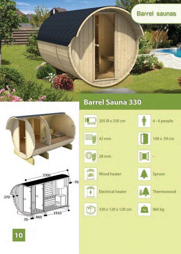 Sauna da esterno modello 330 scheda tecnica