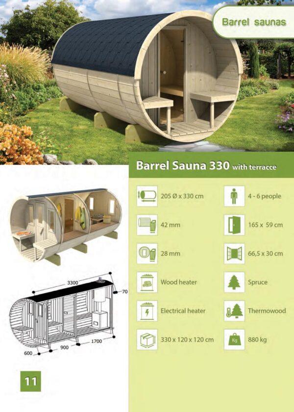 Sauna con veranda 330 scheda tecnica