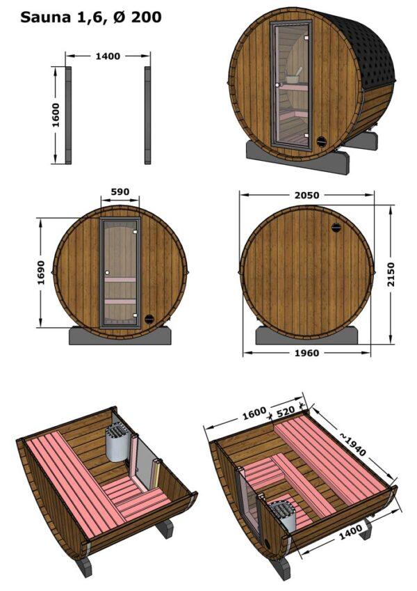Misure Eco Sauna da esterno