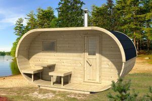 Sauna da esterno ovale in giardino
