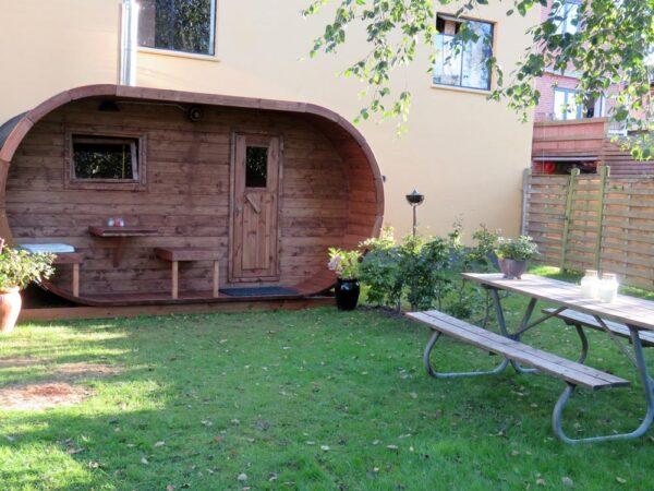 sauna ovale da giardino