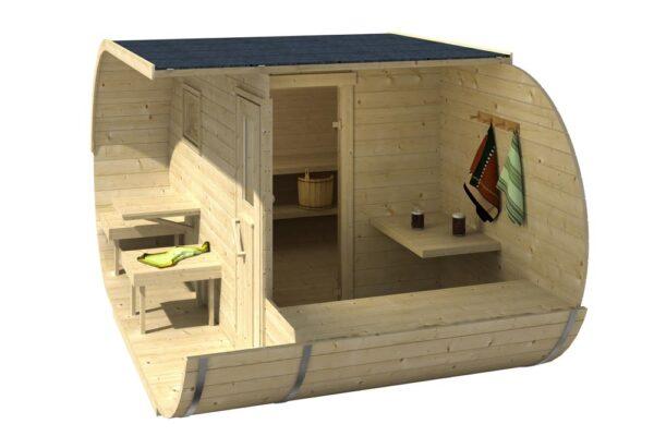 vista 3d della sauna ovale