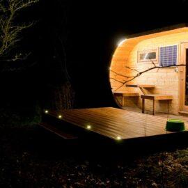 sauna ovale con illuminazione