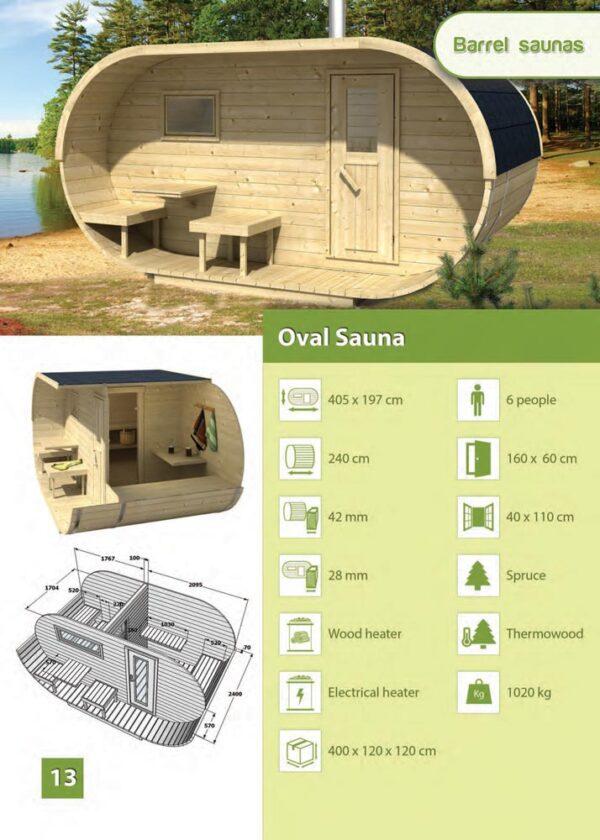 scheda tecnica sauna da esterno ovale