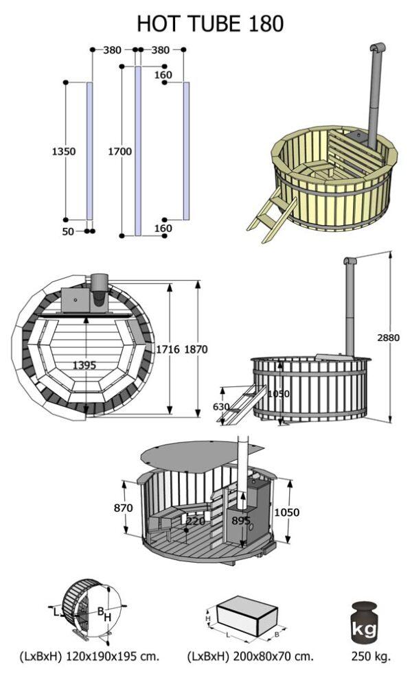 Misure minipiscine da esterno modello hot tube 180