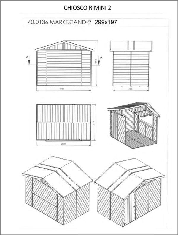 Chiosco in legno modello Rimini 3x2 - Dimensioni