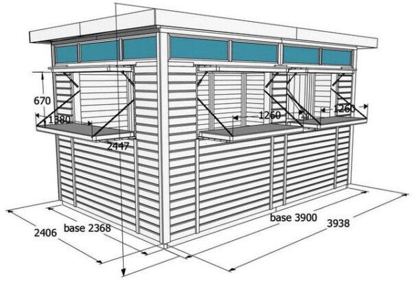 Chiosco in legno modello Sanremo Lux - Dimensioni