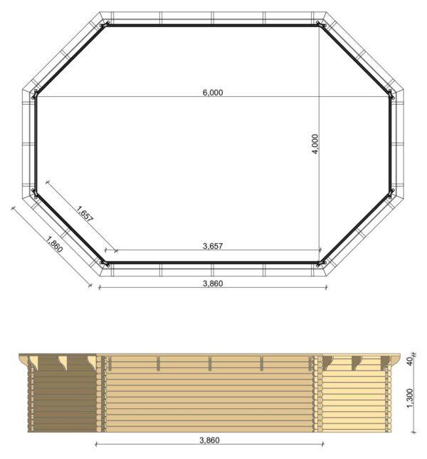 Scheda tecnica piscina ottagonale 4x6 metri